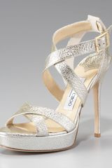 Jimmy Choo Vamp Crushed Metallic Platform Sandal