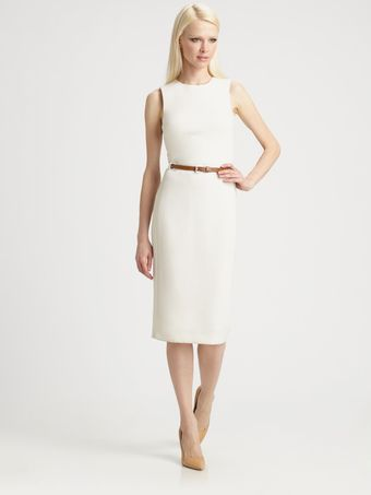 Michael Kors Belted Wool Crepe Dress - Lyst