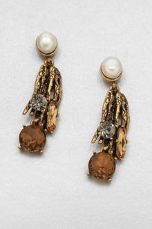 Oscar de la Renta Stone Embellished Drop Earrings - Lyst