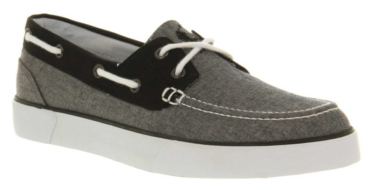 Ralph lauren Lander Canvas Boat Shoe Grey Chambray in Gray for Men ...