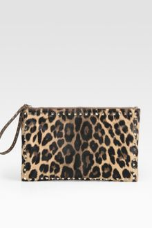 Valentino Rock-stud Pony Hair Leather Clutch - Lyst