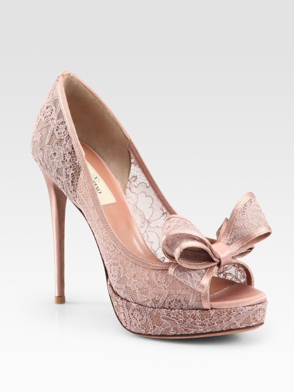 Valentino Lace Couture Bow Pumps In Pink Rose Lyst