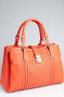Bottega Veneta Orange Intrecciato Leather Stripe Roma Tote - Lyst