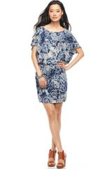 Dkny Shortsleeve Printed Blouson Dress in Blue - Lyst