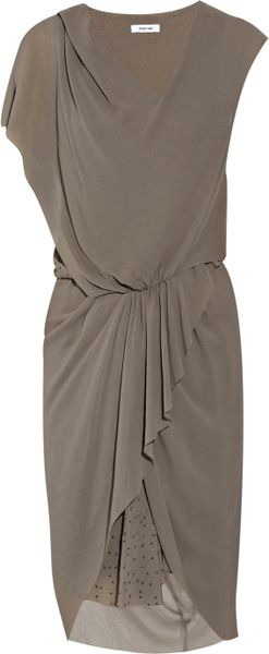 Helmut Lang Particle Textured Silkcrepe Dress in Gray - Lyst