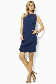 Lauren by Ralph Lauren Sleeveless Drape Sheath - Lyst