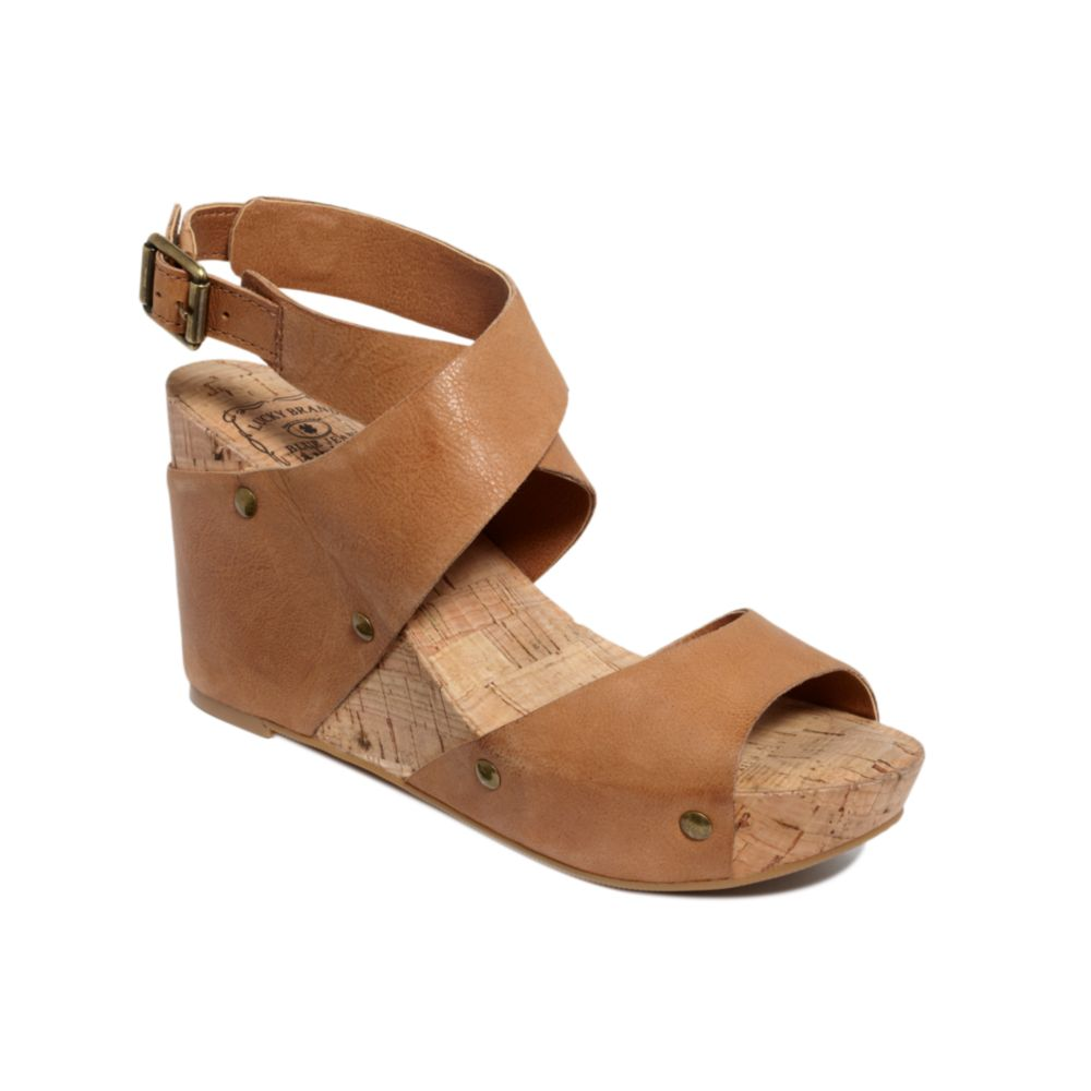Lyst Lucky Brand Moran Wedge Sandals In Brown