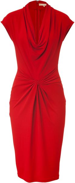 Michael Kors Crimson Red Draped Dress - Lyst