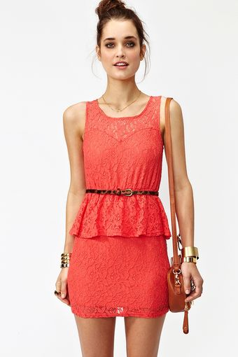 Nasty Gal Lace Peplum Dress Coral - Lyst