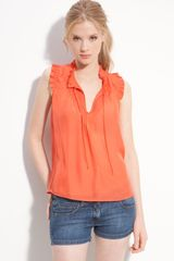 Paul & Joe Sister Sleeveless Ruffle Trim Tie Neck Top - Lyst