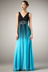 Sue Wong Vneck Ombre Gown in Blue (black turquoise o) - Lyst