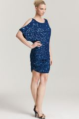 Aidan Mattox Sequin Dress Cold Shoulder - Lyst