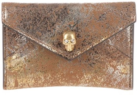 Alexander Mcqueen Card Holder in Gold - Lyst