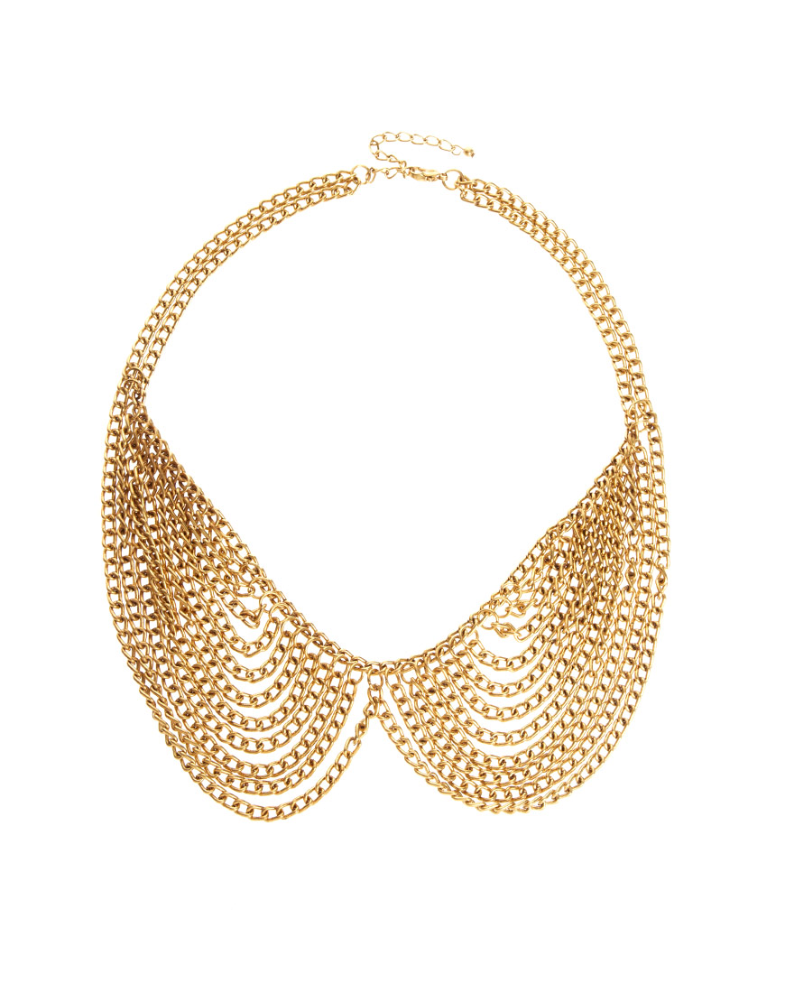 Lyst - Asos Asos Multi Chain Rounded Collar Necklace in Metallic