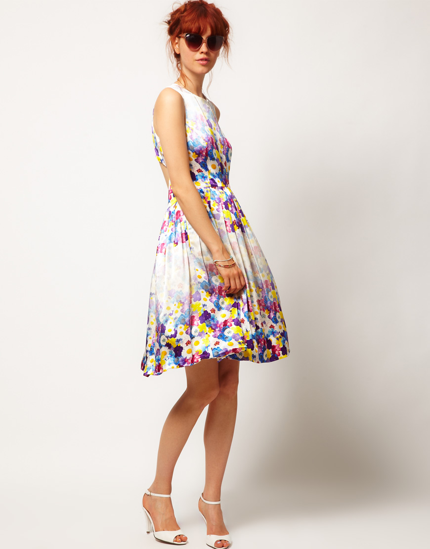 Asos Salon Floral Midi Prom Dress Lyst