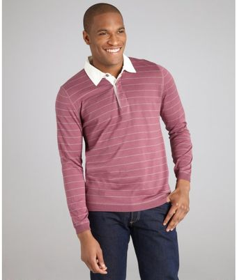 Brunello Cucinelli Burgundy Striped Cotton Long Sleeve Polo Shirt - Lyst