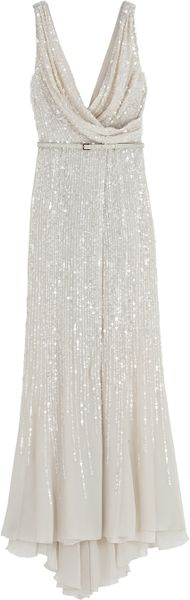 Elie Saab Wrap Cowl Sequin Gown in Gray (white) - Lyst