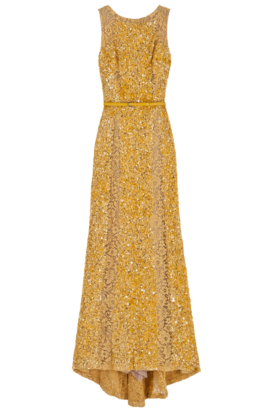 Elie Saab Lace Panel Sequin Gown In Metallic Lyst