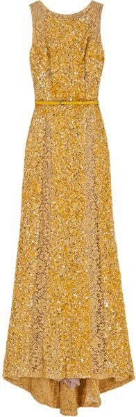 Elie Saab Lace Panel Sequin Gown - Lyst