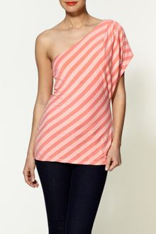 Ella Moss Waldo One Shoulder Stripped Tunic - Lyst