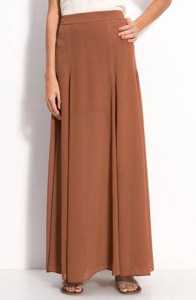 frenchi 174 half sheer chiffon maxi skirt in brown brown