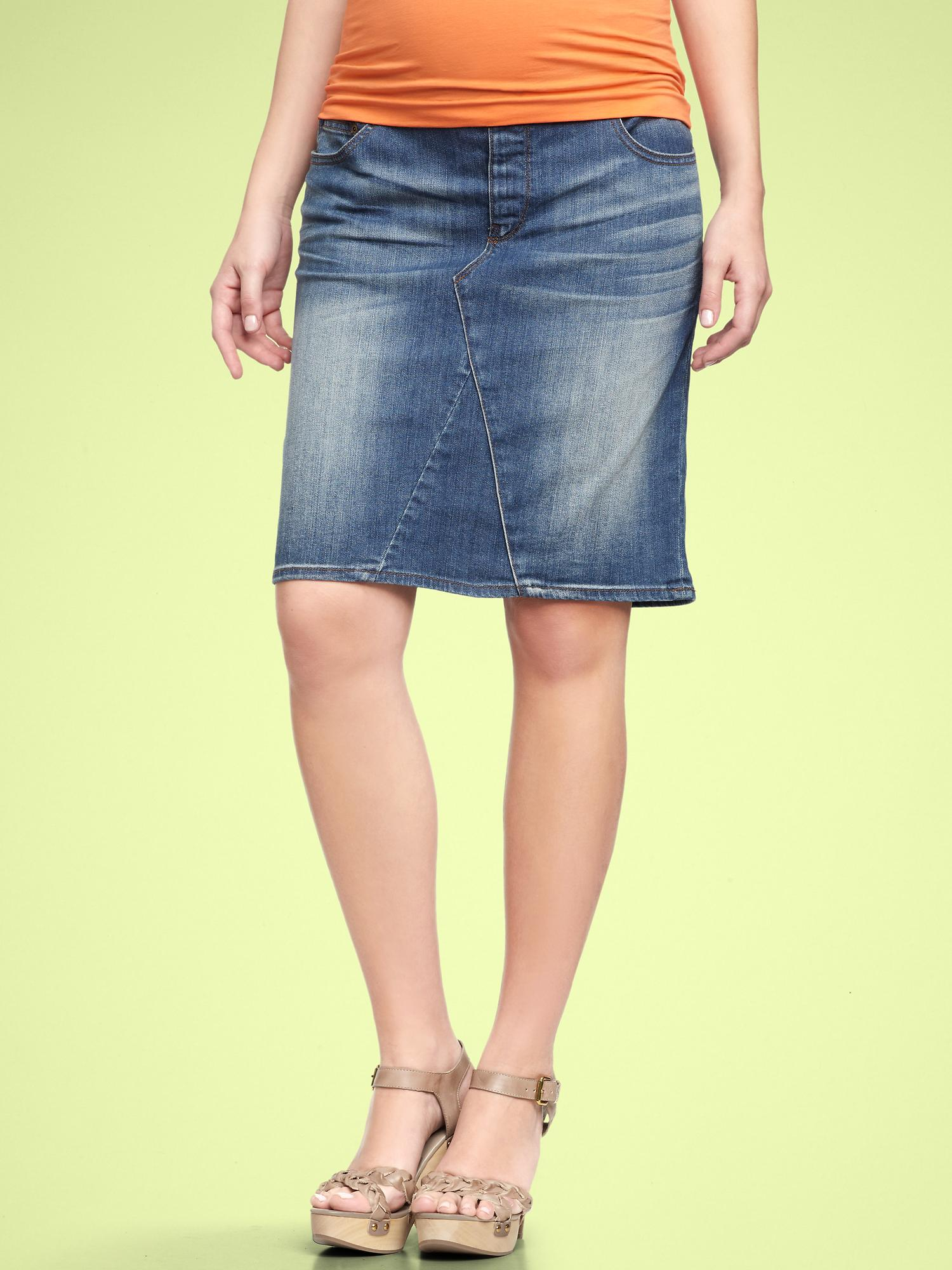gap ultimate panel denim skirt in blue light wash lyst
