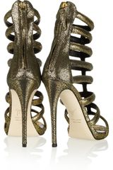 Giuseppe Zanotti Metallic Suede Gladiator Sandals in Gold (black) - Lyst