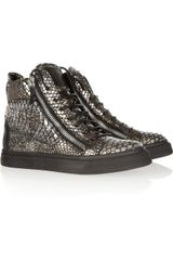 Giuseppe Zanotti Python print Leather Hightop Sneakers - Lyst