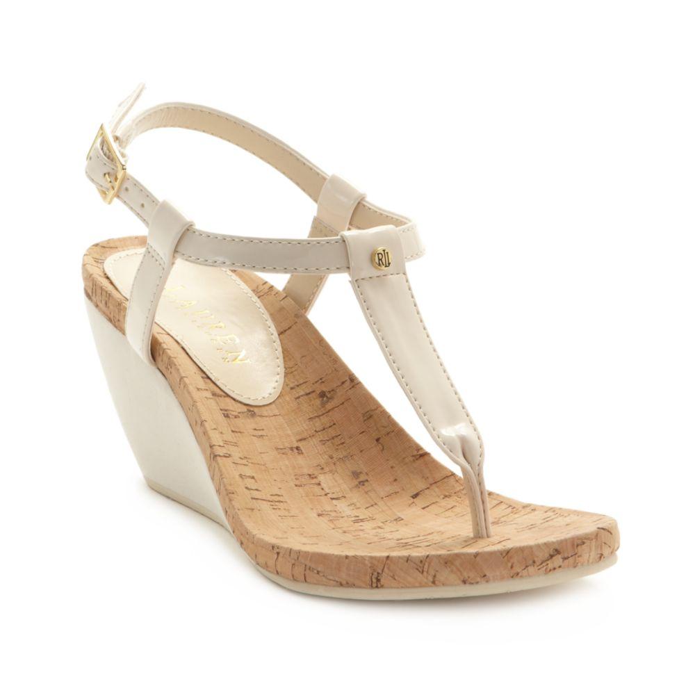 Lauren By Ralph Lauren Rosalia Wedge Sandals In Natural Lyst