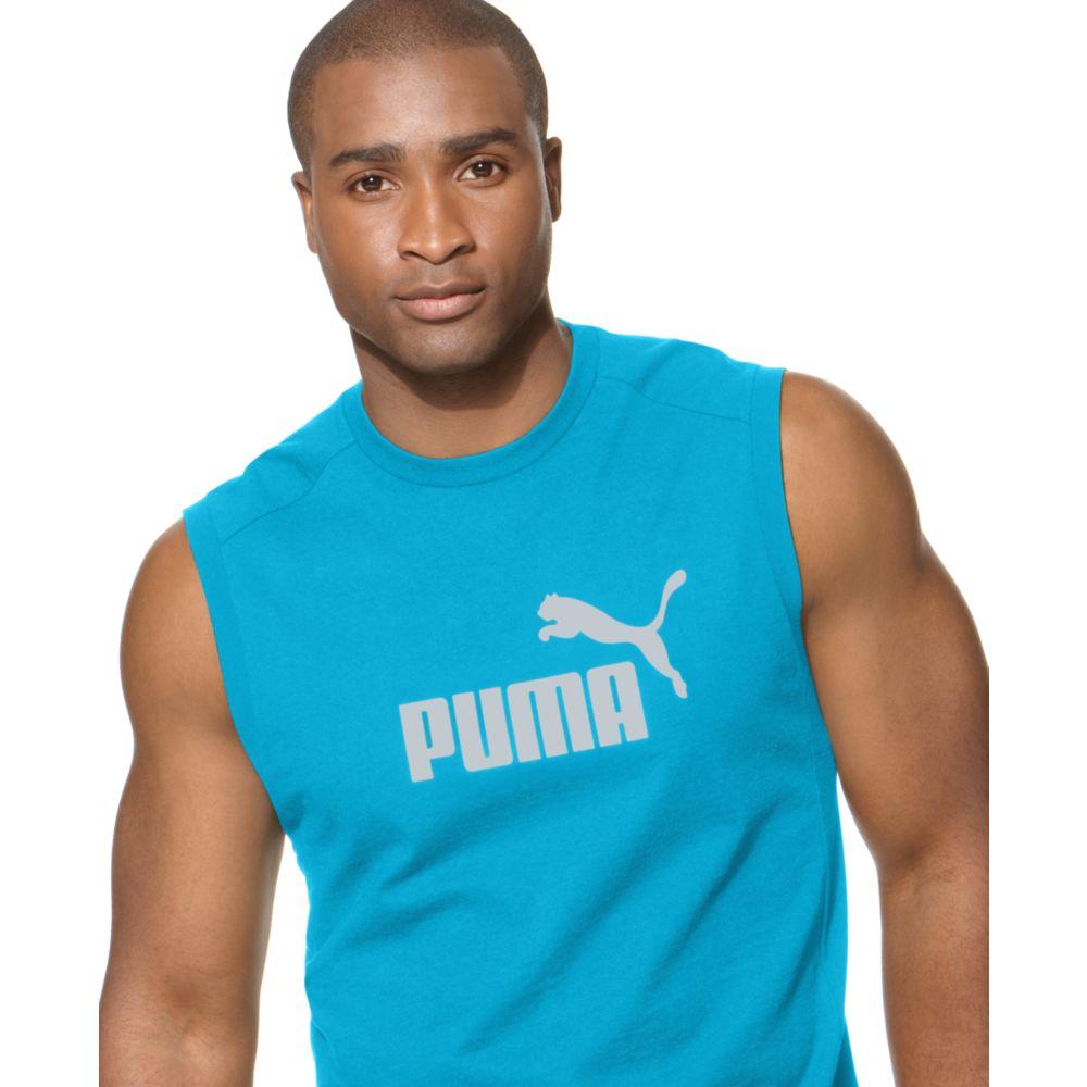 6385fb2b278 PUMA Puma No 1 Logo Sleeveless T Shirt in Blue for Men - Lyst