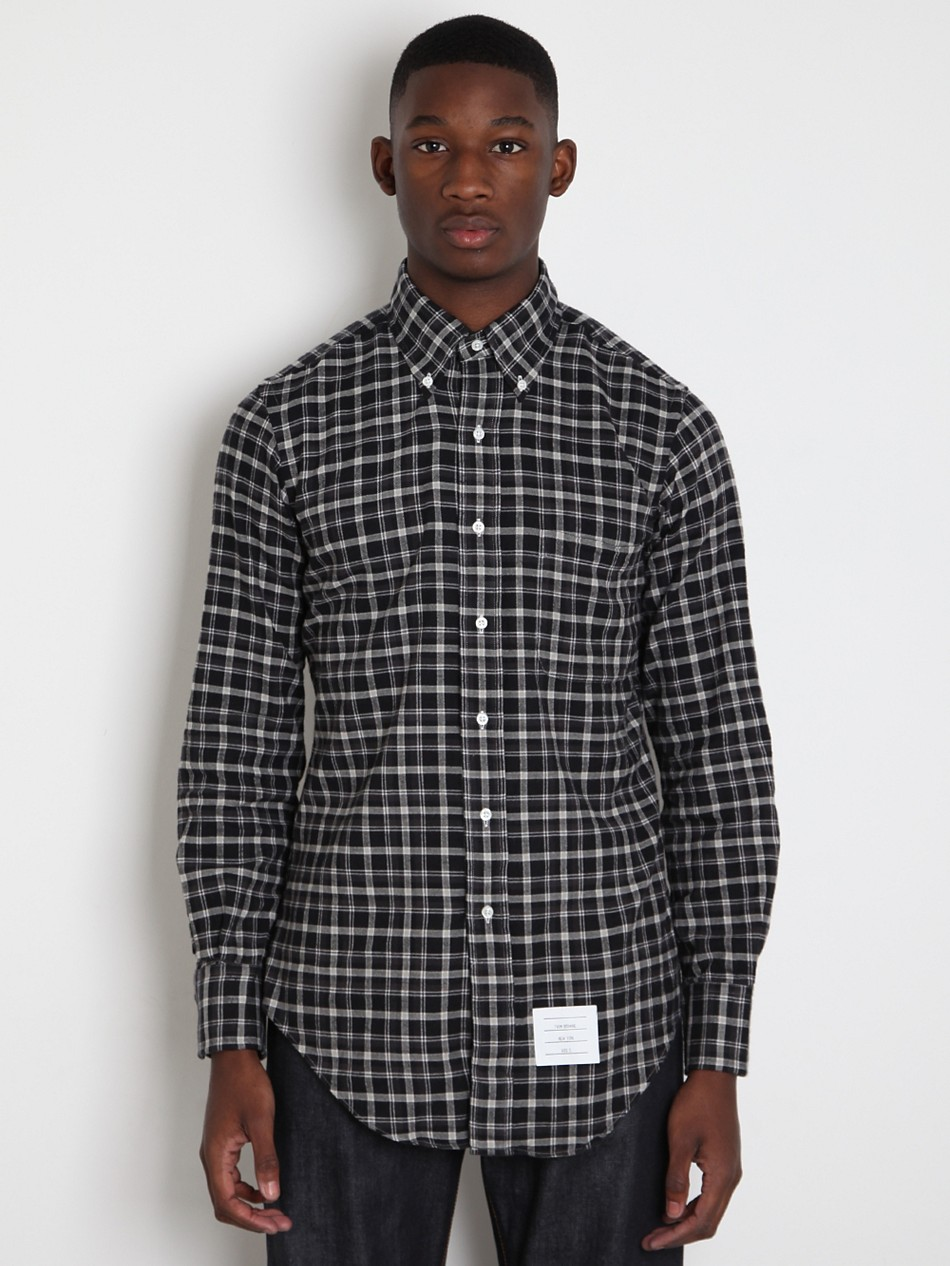 Thom browne thom browne mens check button down shirt in for Mens grey button down dress shirt