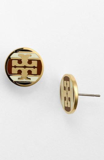 Tory Burch Stripe Logo Stud Earrings - Lyst