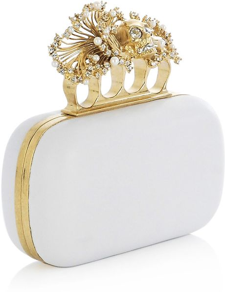 Alexander Mcqueen Anemone Knuckleduster Clutch Bag in White - Lyst