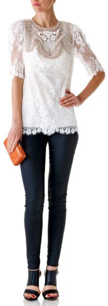 Anna Sui Scalloped Lace Top - Lyst