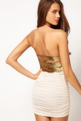 Asos Strapless Dress with Sequin Back Straps - Lyst