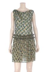 Balenciaga Textured Geometric Print Dress - Lyst