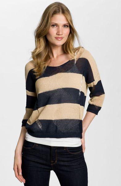 Bcbgmaxazria Drop Stitch Stripe Sweater in Blue (navy combo)