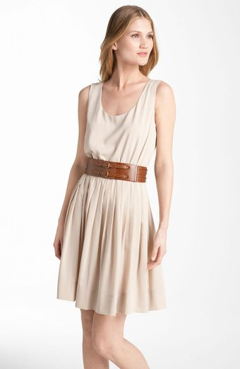Calvin Klein Scoop Neck Pleated Chiffon Dress - Lyst