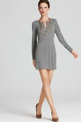 Diane Von Furstenberg Dress Reina Long Sleeve Silk Jersey - Lyst