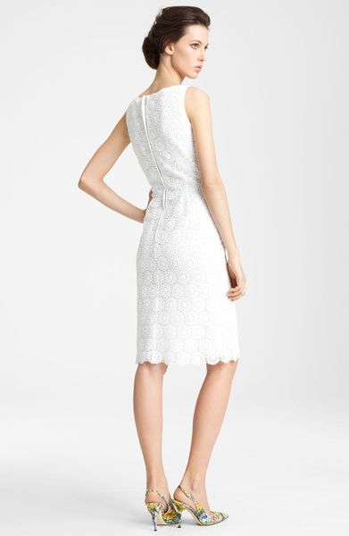 Dolce & Gabbana Boatneck Lace Dress in White - Lyst