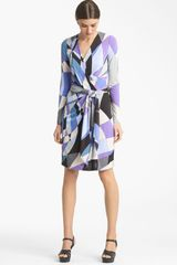 Emilio Pucci Print Jersey Faux Wrap Dress - Lyst