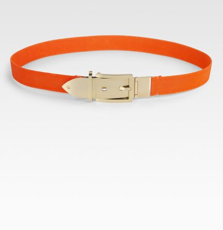 Kate Spade Metal Buckle Stretch Belt in Orange - Lyst