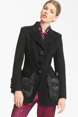 Marc Jacobs Faux Fur Pocket Wool Coat - Lyst