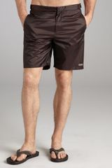 McQ by Alexander McQueen Dark Brown Nylon Snap Swim Trunks - Lyst
