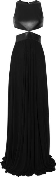 Michael Kors Cutout Leather and Stretchjersey Gown in Black - Lyst
