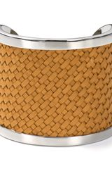 Michael Kors Michael Natural Braided Leather Cuff - Lyst