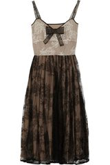 Valentino Pleated Lace Dress in Brown - Lyst