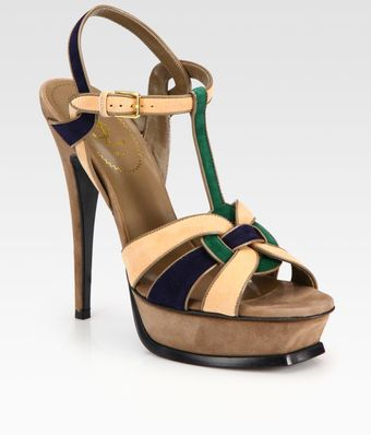 Yves Saint Laurent Colorblock Suede Tstrap Platform Sandals - Lyst