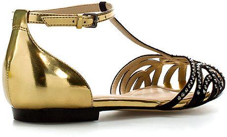 Zara Flat Jelly Sandals In Gold Lyst