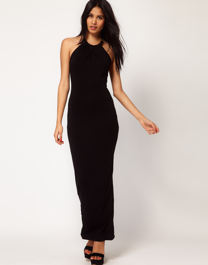 asos collection asos maxi dress with gold necklace in. Black Bedroom Furniture Sets. Home Design Ideas